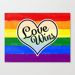 Pride Flag Love is Love-Water Color Graphic  Design  Canvas Print