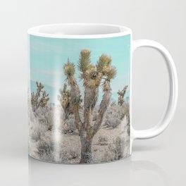 Teal Desert Sky // Cactus Landscape Photography Sierra Nevada USA Cloud Dusted Sky Coffee Mug