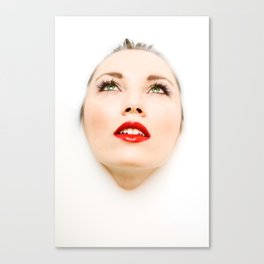 Face In Milk Canvas Print