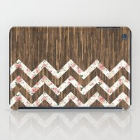 preppy iPad Cases featuring Vintage Preppy Floral Chevron Pattern Brown Wood by Girly Road