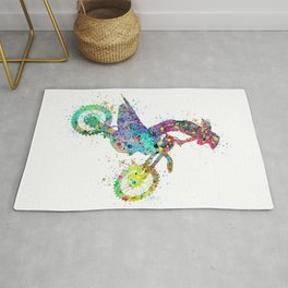 Girl Motocross Colorful Watercolor Moto Bike Supercross Art Rug