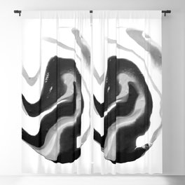 If On A Winter's Night A Traveller Goes to World's End, Marbling Black and White Cirle Blackout Curtain