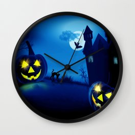 Background with pumpkins in Halloween party Wall Clock