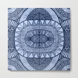 Denim Blue Tangled Mania Pattern Doodle Design Metal Print