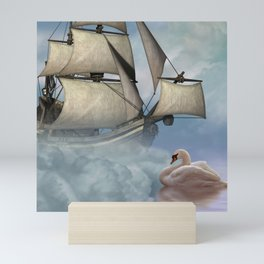 Fantasy seascape, ship and swan Mini Art Print
