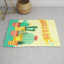 Hello! Colorful Watercolor Cactus and Succulent in Patterned Planters Rug