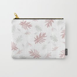 Palms pattern pink and white leaves autumn fall tropical , Christmas , society6 Carry-All Pouch