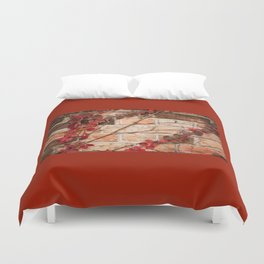 Red ivy leaves creeper on bricks wall Duvet Cover