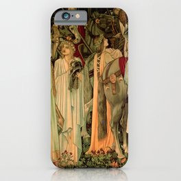 """Edward Burne-Jones """"Holy Grail Tapestry -The Arming and Departure of the Kniights"""" iPhone Case"""
