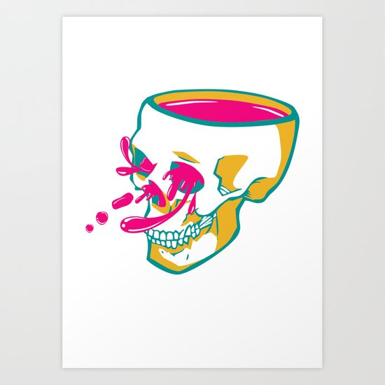 Liquid thoughts:Skull Art Print
