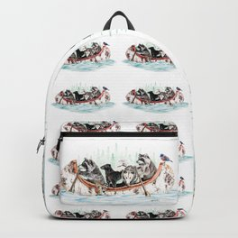 """ Critter Canoe "" wildlife rowing up river Backpack"
