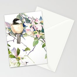 Chickadee and Dogwood Flowers Stationery Cards