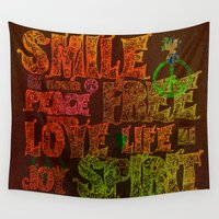 hippie Wall Tapestries featuring Hippie by BLOOP