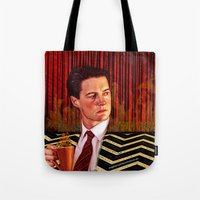 twin peaks Tote Bags featuring Twin Peaks  by Magdalena Almero