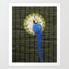 Blue and Yellow Macaw Wreath Art Print