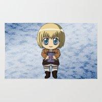 snk Area & Throw Rugs featuring Shingeki no Kyojin - Chibi Armin by Tenki Incorporated