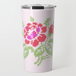 Embroidered red rose Travel Mug