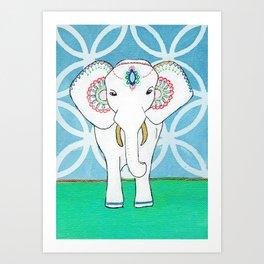 Spirit Elephant - Blue Art Print