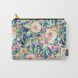 Navy MAUI MINDSET Colorful Tropical Floral Carry-All Pouch