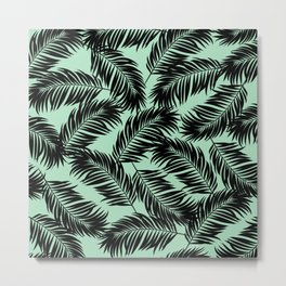 Palm Frond Tropical Décor Leaf Pattern Black on Mint Green Metal Print