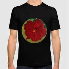 Red hibiscus Mens Fitted Tee MEDIUM Black