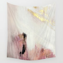 Sunrise [2]: a bright, colorful abstract piece in pink, gold, black,and white Wandbehang