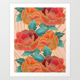 Pink Peonies Pattern with Gold Waves Art Print