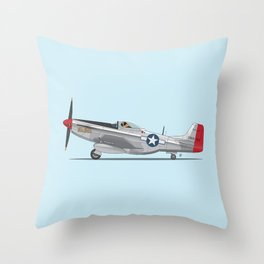 Boxer 'The Duke' flying his P-51 Mustang! -  Dogs driving things Throw Pillow