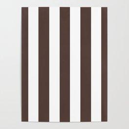 Dark liver (horses) brown - solid color - white vertical lines pattern Poster