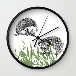 Hedgehogs print Wall Clock