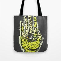 zombie Tote Bags featuring Zombie by Mila Spasova
