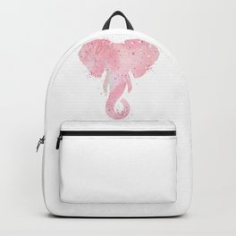 Elephant Head Art Colorful Light Pink Watercolor Art Gift Wildlife Nature Art Animals Lovers Gift Backpack