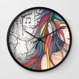 Pretty Rave Girl Wall Clock