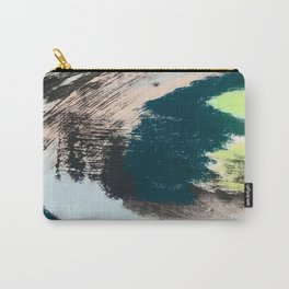 Imagine: a minimal, mixed media piece in black, white, blue, teal, yellow, and peach Carry-All Pouch