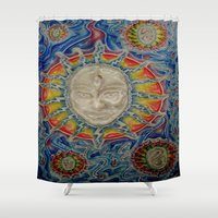 third eye Shower Curtains featuring The Third Eye by Nicholas Bremner - Autotelic Art