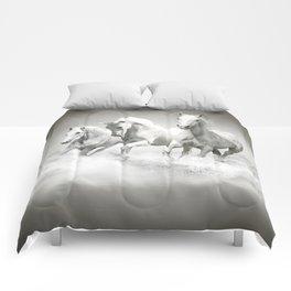Wild White Horses Comforters