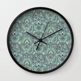 Teal Folk Milk Maid Pattern Wall Clock