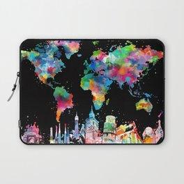world map city skyline 3 Laptop Sleeve