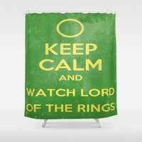 lord of the rings Shower Curtains featuring Lord of the Rings by MeMRB