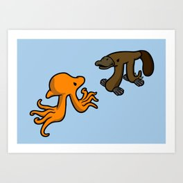 Octopi VS Platypi Art Print