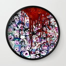 Ahegao Hentai Manga Anime Multicolor Girls Collage Halloween Wall Clock