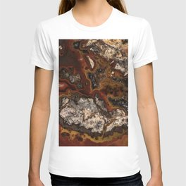 Twisted patterns of brown, red and beige stone T-shirt