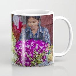 Woman Selling Flowers In the Bangkok Flower District Coffee Mug