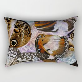 Colorful Butterfly Wing Mosaic Collage Rectangular Pillow