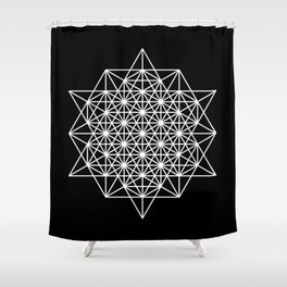 White star tetrahedron Shower Curtain