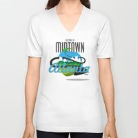 atlanta V-neck T-shirts featuring Midtown Atlanta by Niels Revers Design