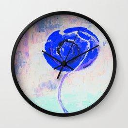 Snow Honey Silver Ice Blue Rose Wall Clock