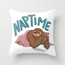 Nap Time Sloth Throw Pillow