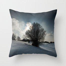 Snowy Hillside Throw Pillow