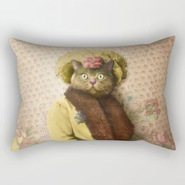 Lady Vanderkat with Roses Rectangular Pillow